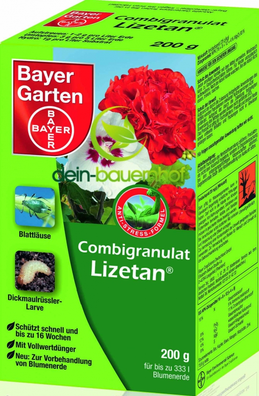 bayer garten combigranulat lizetan 200 g gegen sch dlinge. Black Bedroom Furniture Sets. Home Design Ideas